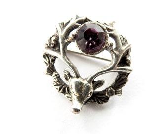 Handmade Silver Stag Thistle Brooch with Purple Rhinestone