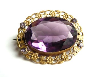 Art Nouveau Amethyst Glass Brooch Pin Brass Floral Filigree Antique Costume Jewelry from TreasuresOfGrace