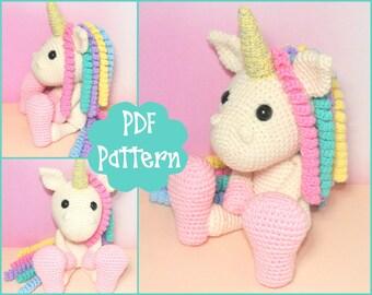 PDF - Unicorn Amigurumi Pattern, Unicorn Crochet, Crochet Pattern, Unicorn Plush, Unicorn Plushie, Unicorn Toy, Crochet Toy, Cute Unicorn,