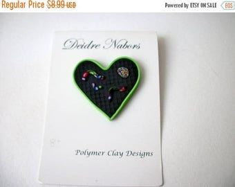 ON SALE Vintage Hand Made Polymer Clay Pin 91317