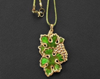 Grape necklace, Green wine charm, Leaf pendant, Grape cluster, Vineyard art nouveau, Fruit miniature, Green glass enamel, Inspired by nature