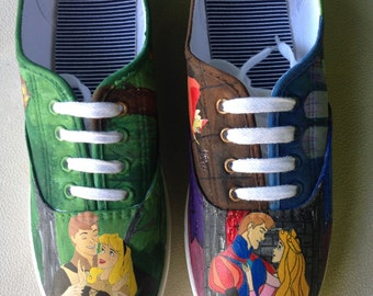 Sleeping Beauty/Briar Rose Painted Canvas Shoes