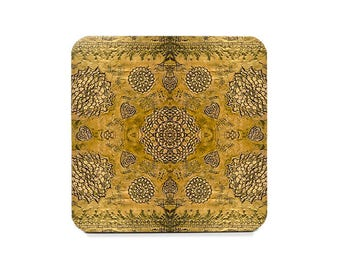 Bohemian coaster, boho drink coasters, gold colored coasters, wine accessories, housewarming gift, cork back coasters, create your own set