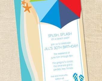 Sweet Wishes Beach Towel and Rainbow Umbrella Party Invitations - PRINTED - Digital File Also Available