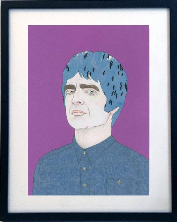 Manchester Music Icon Noel Gallagher giclee mixed media portrait print