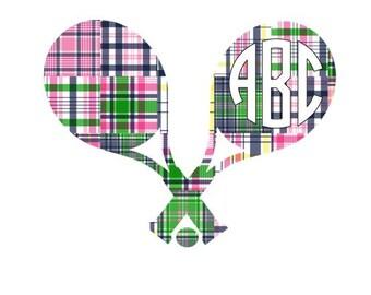 Adhesive Monogram Tennis Decal Sticker - Camden Madras Decal For Car, Decal For Laptop, Tennis Sticker, Monogram Sticker, Monogram Decal