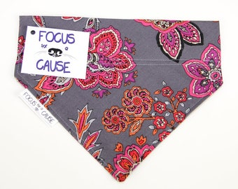 Gray with Floral Dog Bandana, Slip Over the Collar Dog Bandana, Great Gift, Focus for a Cause