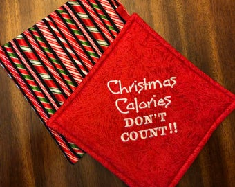 Christmas/Holiday Embroidered Hot Pads/Pot Holders