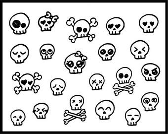 Skull clipart, cute, skull candy, skulls, skullcandy, clipart, vector graphics, digital clip art, digital images, Commercial Use (Printable)
