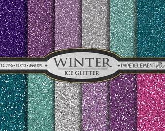 Glitter Digital Paper: Blue Glitter Paper, Pink and Purple Glitter Paper, Girly Glitter Backgrounds, Winter Digital Paper, Glitter Graphics