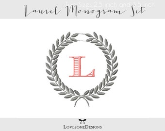 Laurel Monogram Set Two Sizes Embroidery Font, Machine Embroidery Design, Wreath Monogram, Monogram Font Embroidery, Laurel Wreath Monogram
