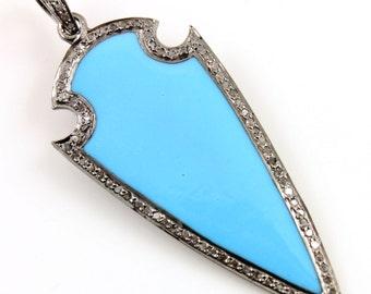 Pave Pendant, Pave Diamonds, Pave Turquoise Pendant, Pave Arrowhead, Pave Charm, Turquoise Pendant , Turquoise Connector. (DCH/PDT/593/Turq)