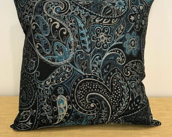 """Blue Moroccan Fabric Paisley Tapestry Cushion Cover Pillow Throw. 18"""" (45cm). Made Australia"""