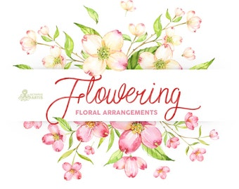 Flowering. Watercolour arrangements, templates, frames, flowers, green, pink, wedding invitation, diy clip art, delicate, romantic, spring
