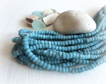 blue glass Beads , blue seed beads, organic matte opaque turquoise tube barrel , New Indo-pacific - 3 to 6 mm / 22 inches strand - 5A4-27