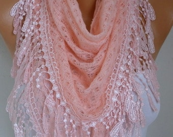 Salmon Knitted Lace Triangle Scarf Shawl Cowl Bridesmaid Bridal Accessories Gift Ideas For Her Women Fashion Accessories Mother Day Gift