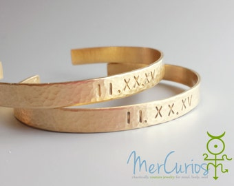 Custom Roman Numerals Bracelet, 14K Gold Filled Cuff, Gift for Bride, Bridesmaids or Mom