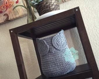 Medium Chic handmade crochet Owl Basket, Home Decor storage Basket, crochet Owl basket, Owl nursery decor, Crochet storage, Owl decor,