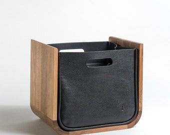 Newspaper collector Walnut oiled with leather case