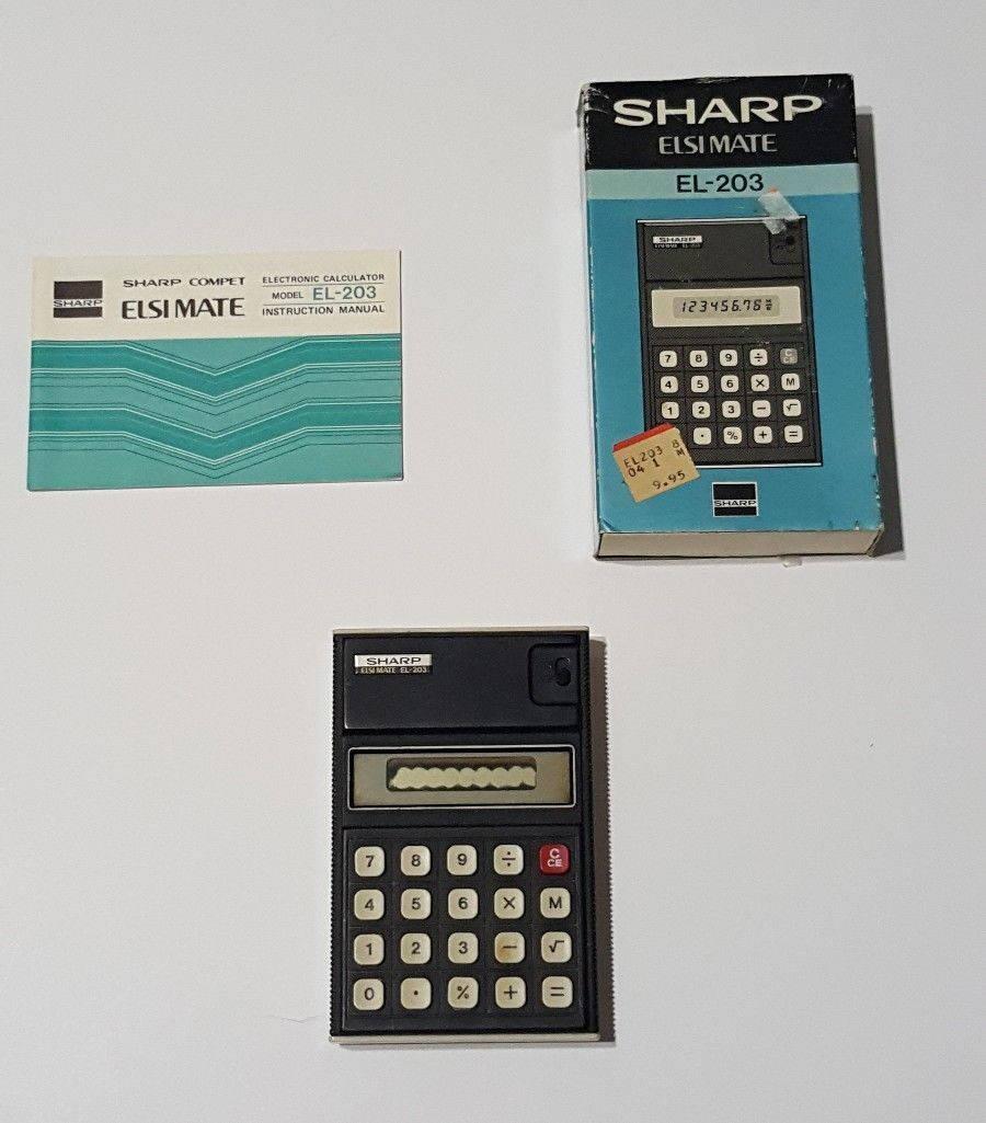 Sharp Elsi Mate El 203 Vintage Calculator With Original Box