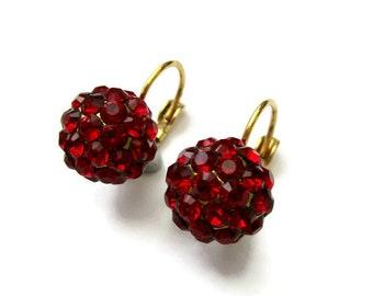 Vintage red crystal earrings, crystal cluster earrings, domed earrings, Une Ligne earings, pave set crystal earring, red earrings