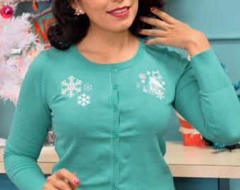 "Get ""Yeti"" for Winter Embroidered Holiday Cardigan in Sea Foam (All Sizes)"
