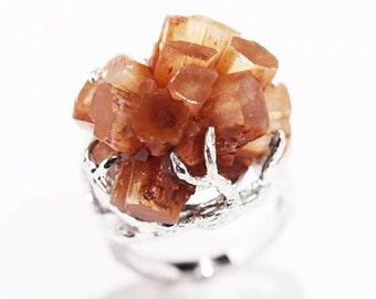 Aragonite Ring, Raw Crystal, Natural Aragonite Crystal, Sterling Silver Ring, Statement Ring