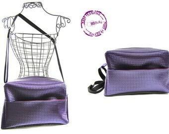 """Purple 3D faux """"Bully Travel"""" shoulder bag"""