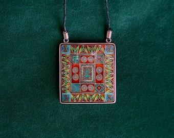 Cloisonne enamel necklace