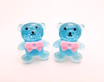 Blue Bear clip-on earrings