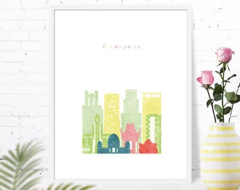 Los Angeles city scape wall art, CA, printable downloads for girl's room, baby nursery decor travel world adventure, housewarming gift