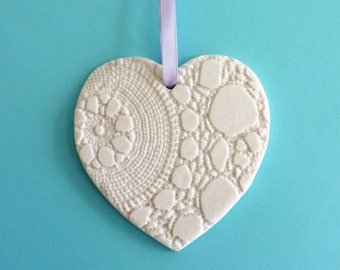 Ceramic heart ~ hanging heart, essential oil diffuser, lacy heart, clay hearts, gift for her, birthday present, small gifts, present for Mum