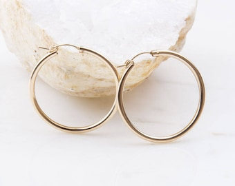 14K Gold Filled Thick Hoop Earrings, Gift for Her, Christmas Gift, Large Gold Hoops, 35mm Gold Hoop Earrings, Minimalist Earring Jewelry