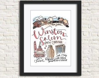 Winston-Salem, North Carolina Handlettered Watercolor 8x10 in Wall Art Print Gift