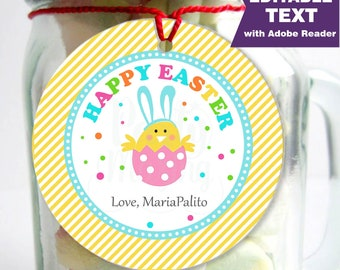 Editable Printable Easter Tag , Party Favor Sticker, Cute Boy Some-Bunny Special Tag, Round or Square Topper, Instant Download -D765