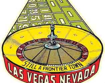 Vintage Style Las Vegas roulette casino  Nevada     1950's   Travel Decal sticker