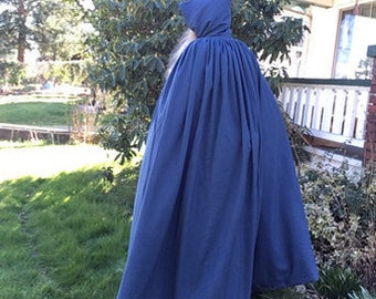 Cowled Cloak, Pendleton® 100% virgin wool, suitweight, jewel blue mid-weight worsted
