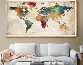 World map decor etsy world map wall art world map poster world map push pin world map gumiabroncs Gallery