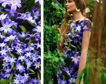 Blue Floral Dress, Flower Dress, Summer Dress, Bodycon Dress, Boho Dress, Bohemian Dress, Boho Clothing, Resort Wear, Dance Outfit Day Dress