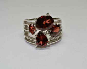 Diamonds and Garnet sterling silver ring, FREE SHIPPING