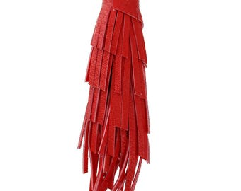 Large Faux Leather Tassel in Red - 2 pieces