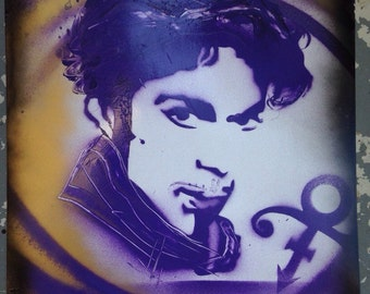"""Prince tribute spray paint art poster 11x14"""" purple and gold"""