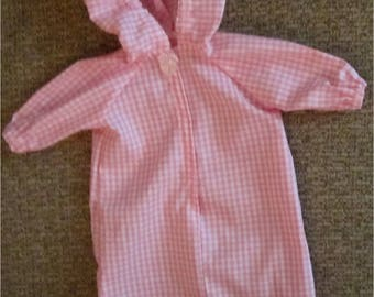 Pink White Checked Baby Doll Hooded Bunting Wrap  Fits Bitty Baby, Bitty Twin or Other Baby Dolls