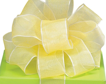 "Baby Showers 1-1/2""W 5YDS Wired Edge Organza Ribbon Sheer Soft Yellow"