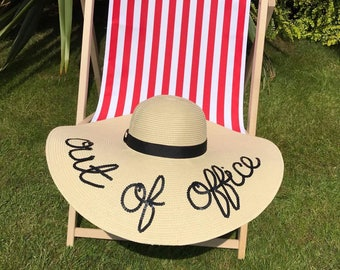 Out of office sequin script floppy straw hat