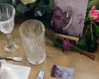 Wedding Stationery Set for Print - PDF - Save the Date, Wedding Invitation, RSVP, Table Numbers, Menu-Thank You - Dark purple