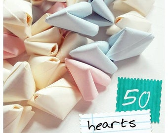 50 paper origami heart love messages - wedding favour - simple decor - free worldwide shipping - paper wedding anniversary