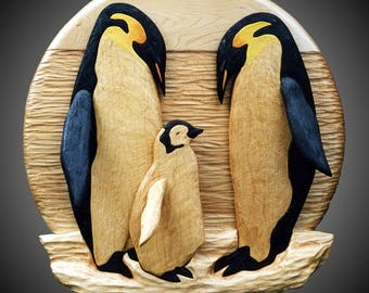 Emperor Penguin Family Wall Sculpture