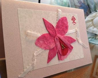 Handmade Origami Wedding Orchid Card