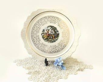 Vintage Harker Pottery 22 KT Gold Cake Plate, Godey Prints Romantic Couple